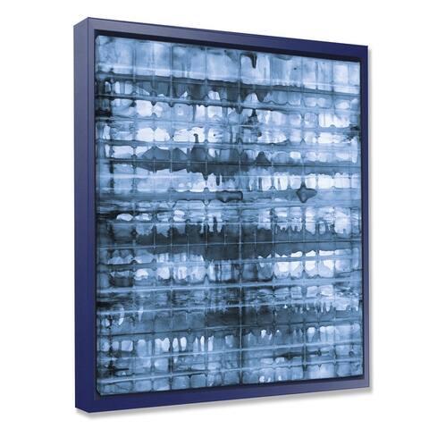 Designart 'Indigo watercolor geometrical V ' Contemporary Framed Canvas - Blue