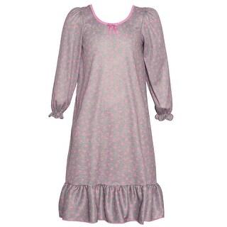 Laura Dare Little Girls Pink Happy Heart Print Long Sleeve Nightgown