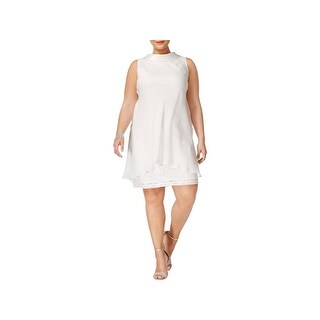 SLNY Womens Plus Cocktail Dress Sleeveless Knee-Length