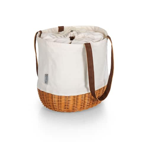 PICNIC TIME Coronado Canvas and Willow Basket Tote, (Beige Canvas) - 14.17 x 11.42 x 13.4