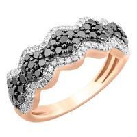 Prism Jewel 0.98Ct Black Diamond & White Diamond Designer Ring - White H-I