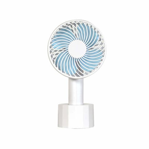 """Soleus Air 4"""" Rechargeable Handheld Fan with Adjustable Lanyard and Mounting Base"""