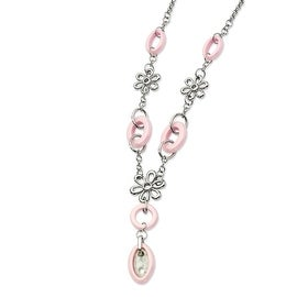 Chisel Stainless Steel Flowers & Pink Ceramic 22 with 2 Inch Extension Necklace (17 mm) - 22 in