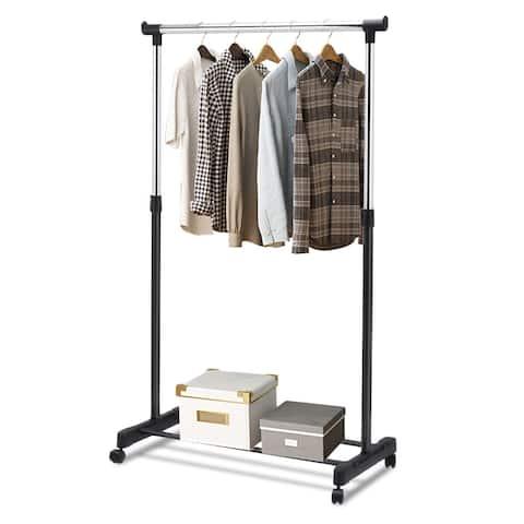 Costway Adjule Rolling Garment Rack Portable Clothes Hanger Heavy Duty Rail Sliver