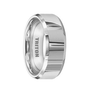 CALVERT White Tungsten Ring Beveled Edges and Polished Finish by Triton Rings - 6mm & 8mm