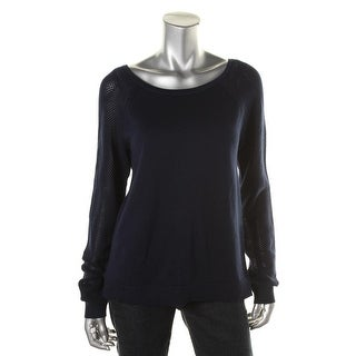 LRL Lauren Jeans Co. Womens Cotton Mesh Sleeve Pullover Sweater - M