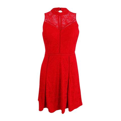 Guess Women's Lace Cutout-Back A-Line Dress (2, Red) - Red - 2