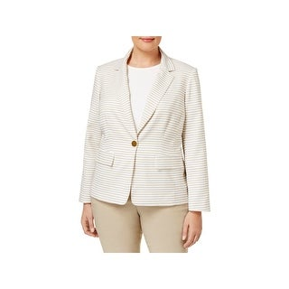 Calvin Klein Womens Plus One-Button Blazer Striped Long Sleeve