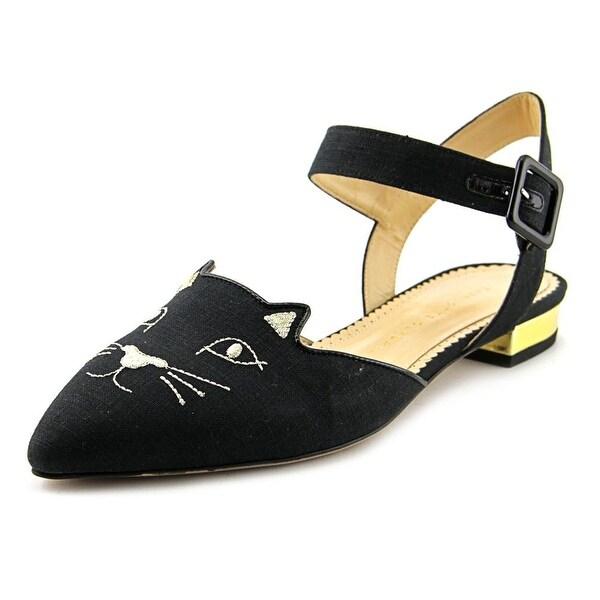 Charlotte Olympia Mid Century Kitty Pointed Toe Canvas Slingback Heel