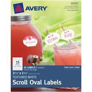 """- True Print Textured Scroll Oval Labels 2-1/2""""X1-1/2"""" 45/Pkg"""