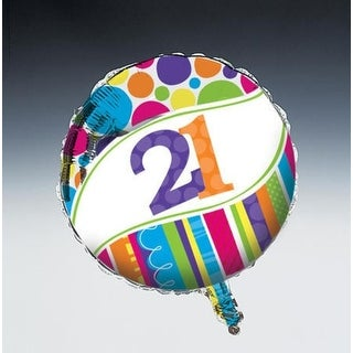 "Pack of 10 Bright and Bold Metallic ""21"" Foil Party Balloons"
