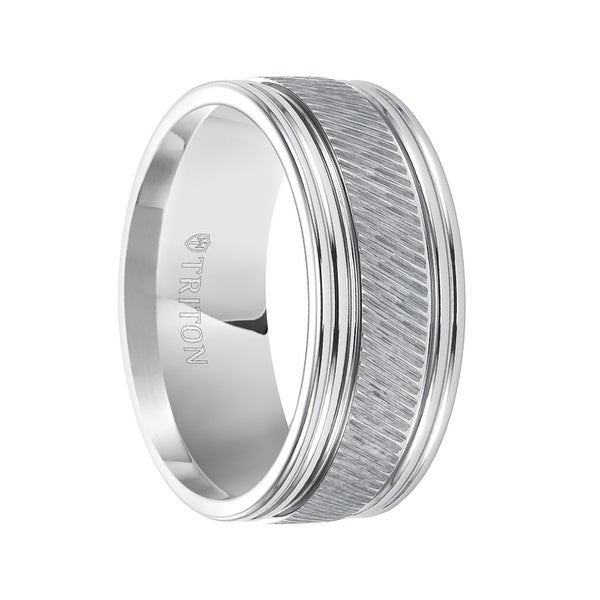 LARS Flat Pipe Cut White Tungsten Carbide Ring with Center Diagonal Coin Edge Texture by Triton Rings - 9 mm