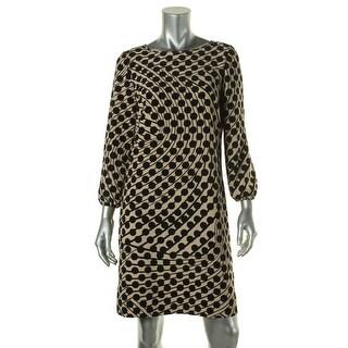 Tahari ASL Womens Ann Printed Long Sleeves Wear to Work Dress
