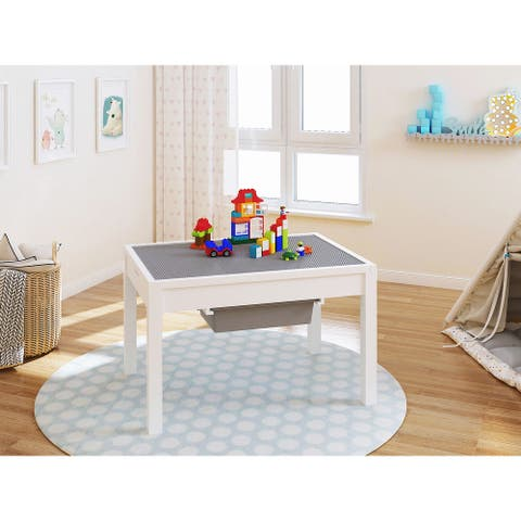 UTEX-2 in 1 Kids Large Activity Lego Table with Storage,White