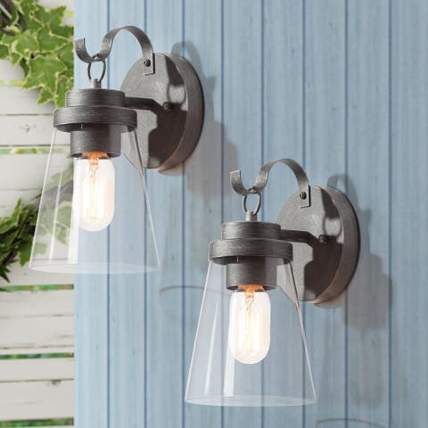 """Traditional 2 Packs Glass Outdoor Wall Sconce Silver Wall Lamp - L 5.5""""x W 6.5""""x H 10"""""""