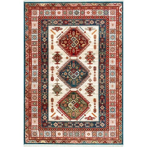 nuLOOM Traditional Tribal Diamond Emblems Area Rug