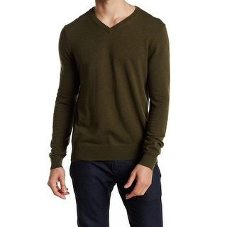 Joe Fresh NEW Green Dark Olive Mens Size Medium M V-Neck Pullover Sweater