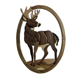 Standing Deer Hand Crafted Intarsia Wood Art Wall Hanging