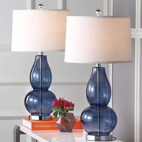"SAFAVIEH Lighting Mercurio Blue Double Gourd 29-inch Table Lamp (Set of 2) - 15"" x 15"" x 28.5"""