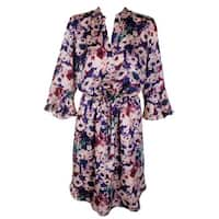 Lauren Ralph Lauren Plus Size Pink Multi Bell-Sleeve Split Neck Shift Dress 18W