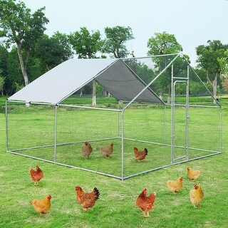 Gymax Large Walk In Chicken Coop Run House Shade Cage 13'x13' with Roof Cover Backyard - as pic