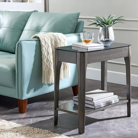 Copper Grove Hemer Narrow End Table with Black Glass Top