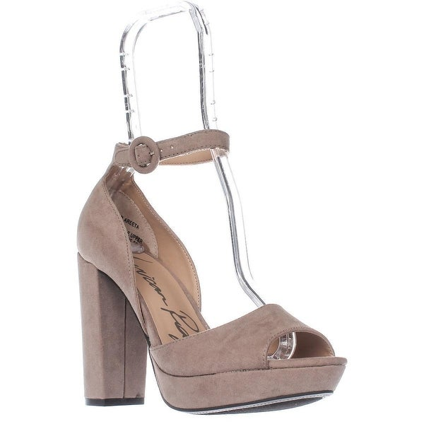 AR35 Reeta Platform Peep Toe Ankle Strap Heels, Grey