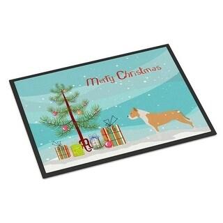 Carolines Treasures BB2972JMAT Staffordshire Bull Terrier Merry Christmas Tree Indoor or Outdoor Mat 24 x 36