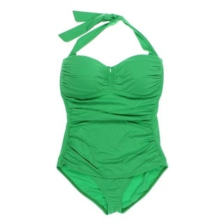 Tommy Bahama Womens Ruched Halter One-Piece Swimsuit