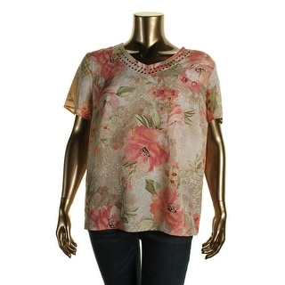Alfred Dunner Womens Plus Cut-Out Floral Print Pullover Top - 18W