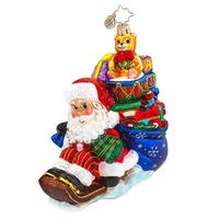 Christopher Radko Glass Wee Jolly Sleigh Ride Santa Christmas Ornament #1017571 - multi