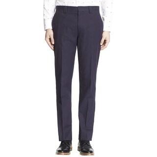 Hugo Boss Himmer Slim Fit Flat Front and Unhemmed Dress Pants Navy Blue 38