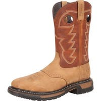 "Rocky Western Boots Mens 11"" Original Ride Steel Toe WP Brown"