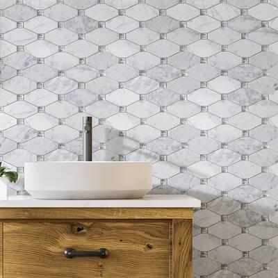 "Marble Mosaic Tile Bianco Carrara 2.2""x4.25"" Polished - 10 PCS"