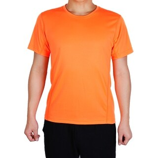 Men Polyester Short Sleeve Clothes Casual Wear Tee Biking Sport T-shirt Orange L