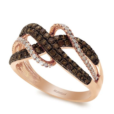Effy Jewelry Brown & White Diamond Crisscross Ring in 14K Rose Gold, 0.82 TWC Size- 7