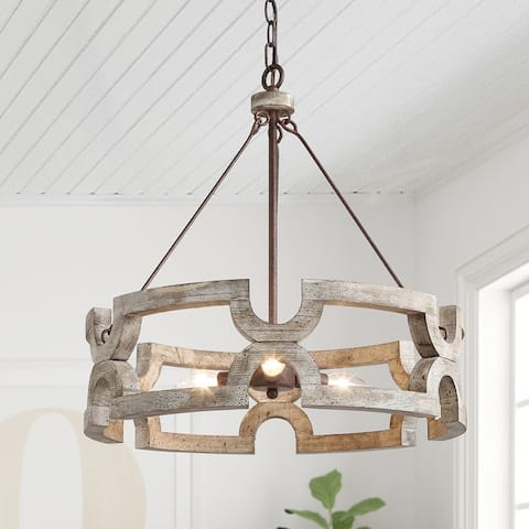 The Gray Barn Farmhouse 3-light Wood Drum Chandelier for Dining Room