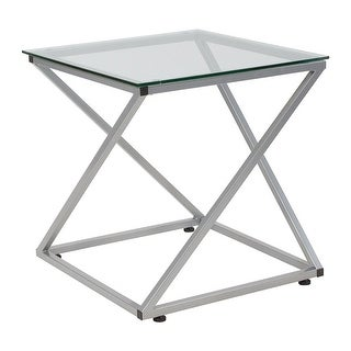 Offex Square Glass End Table with Contemporary Steel Design
