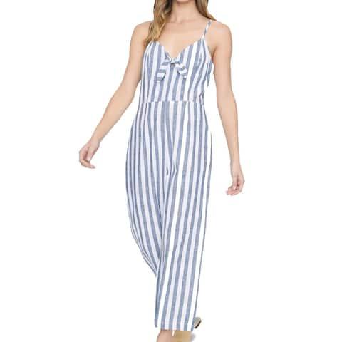 Sanctuary Womens Jumpsuits Blue Size 10 Striped V-Neck Tie-Front