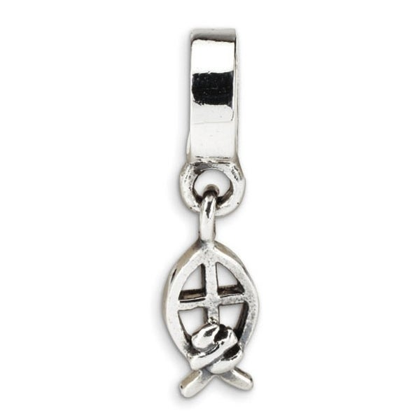 Sterling Silver Reflections Ichthus Dangle Bead (4mm Diameter Hole)