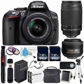 Nikon D5300 Digital Camera w/ 18-55 VR II Lens (International Model No Warranty) + Nikon 70-300mm f/4-5.6G Zoom Lens Bundle 94