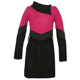 Dollhouse Little Girls Black Fuchsia Paneled Knit Asymmetric Collar Dress