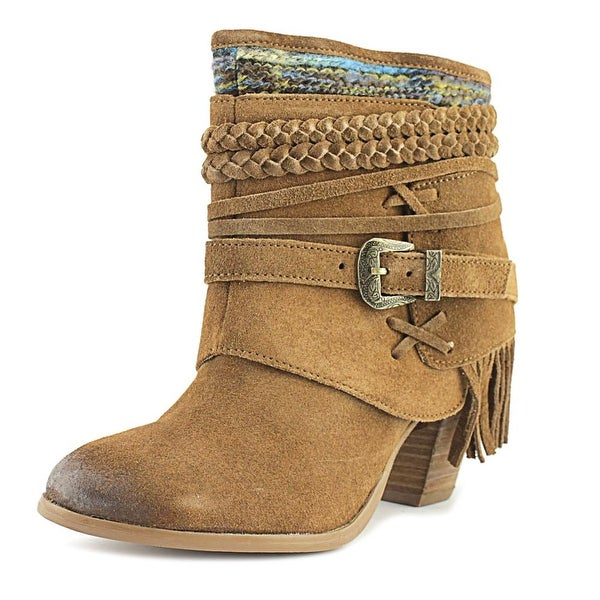 Naughty Monkey Saddle Baggin Women Round Toe Suede Brown Ankle Boot