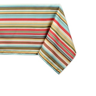 "Colorful Striped Zippered Rectangular Umbrella Tablecloth 84"" x 60"""