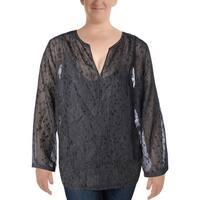 NYDJ Womens Casual Top Chiffon Long Sleeves
