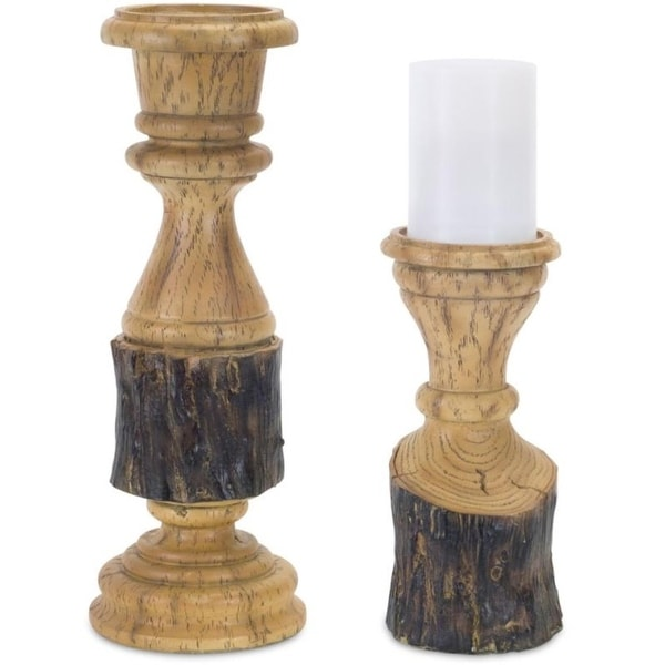 Pack of 2 Decorative Poly-stone Wood look Candle Holders