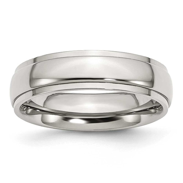 Chisel Ridged Edge Polished Stainless Steel Ring (6.0 mm) - Sizes 6-13