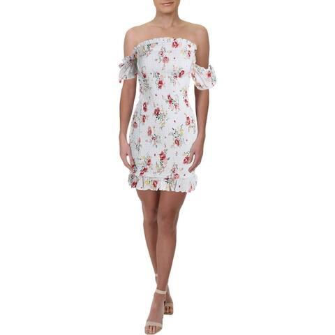Aqua Womens Casual Dress Floral Print Smocked - White Multi