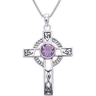 Link to Sterling Silver Celtic Cross with Knot Work and Gemstone Pendant Similar Items in Necklaces