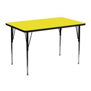 Fun & Games Activity Table 30''W x 48''L Rectangular Yellow High Pressure Laminate Adj Height